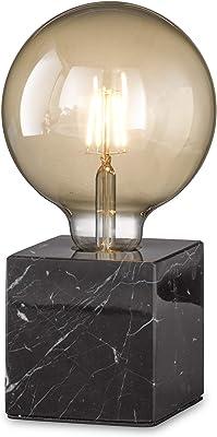 loxomo - lampe de table cube de marbre, 9 x 9 x 9 cm, lampe de table en marbre avec douille E27, jusqu'à max.60W, lampe déco pour ampoules industrielles Edison retro, IP20, marbre noir