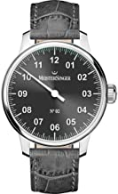 MeisterSinger No 2 Mens Single-Hand Manual Wind Mechanical Watch - 43mm Analog Grey Face Unique Dress Watch with Sapphire Crystal - Grey Leather Band Swiss Made Classic Luxury Watch for Men AM6607