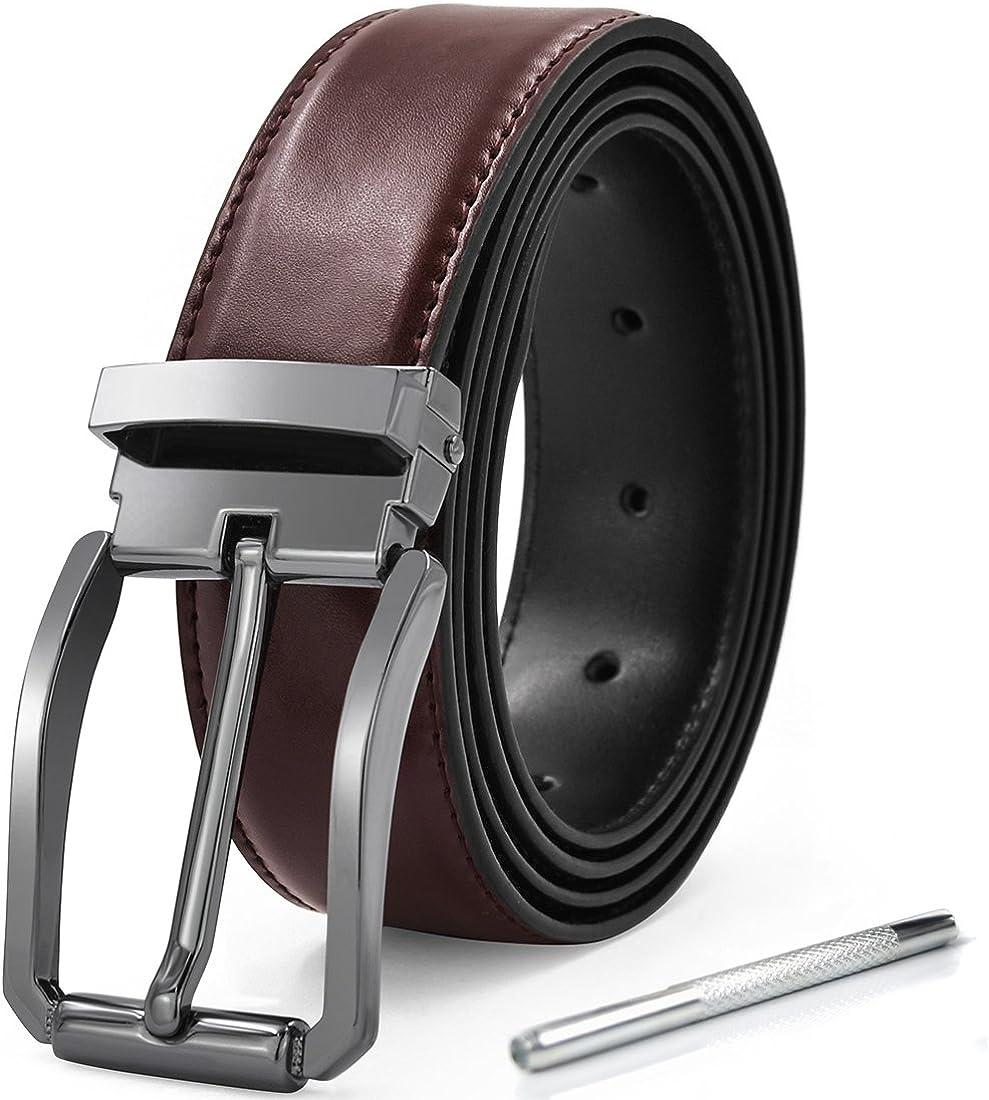KTMOUW cinturón hombre cinturón hombre cinturón traje cinturón jeans cinturón caja de regalo y perforador 32 mm ancho 135 cm marrón
