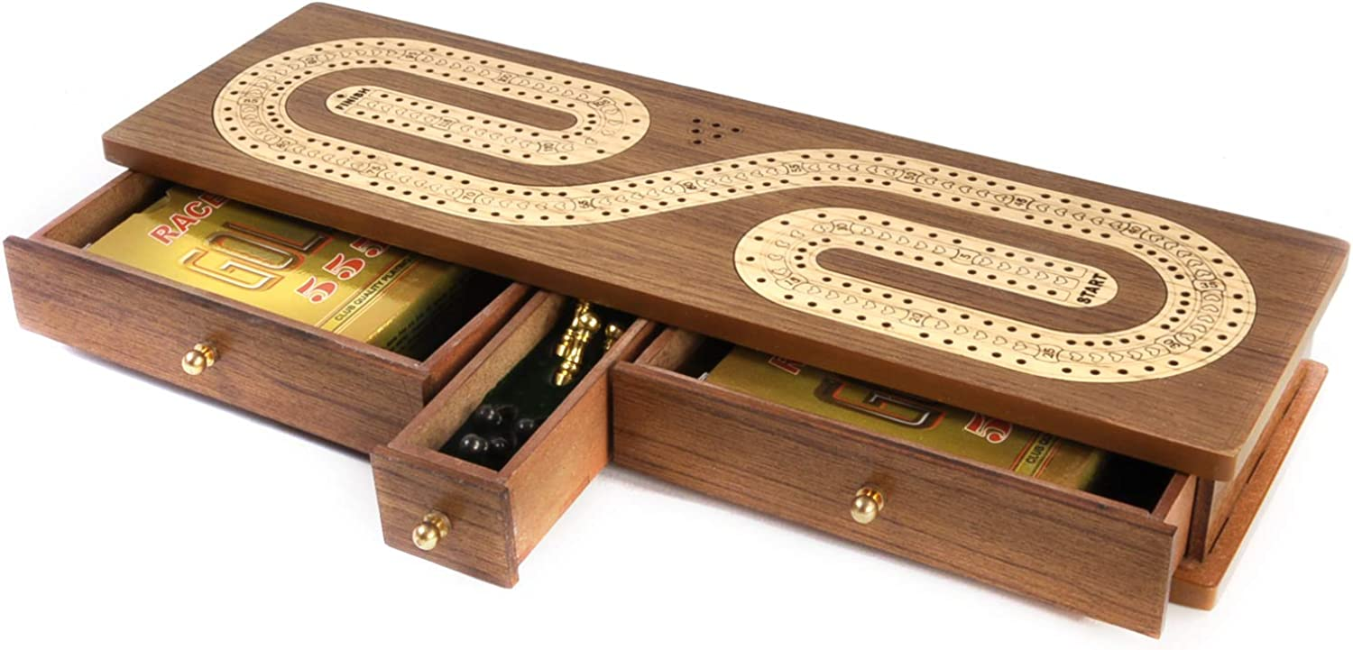 Verma Luxury 2 Track Shaped Brown Topped Wooden Cribbage