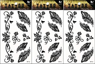 PP TATTOO 3 Sheets Feather Flowers Rose Vine Group Tattoos Stickers Pattern Style Henna Make up Neck Shoulder Upper arm Thigh Body Art Tattoo for Women Men Sexy Fake Waterproof