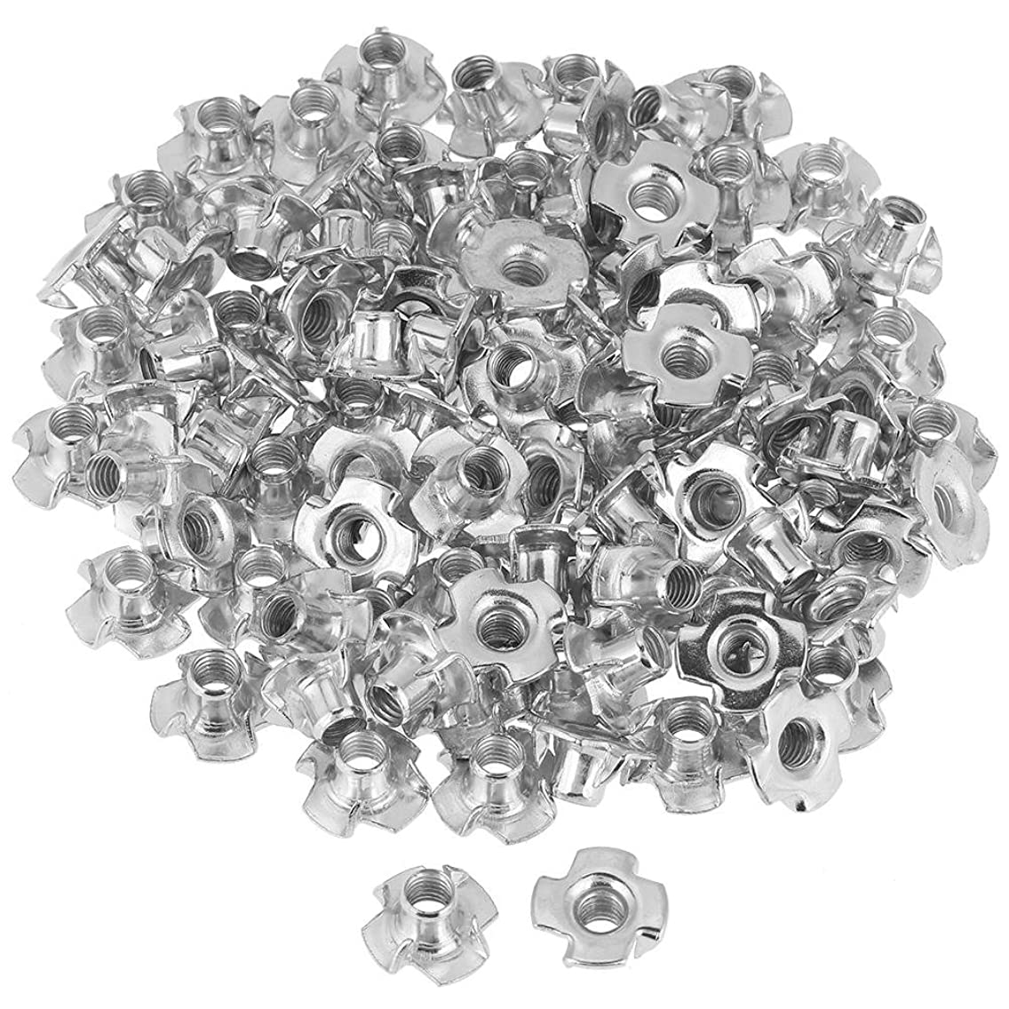 Four-Pronged Tee Nuts, 100pcs Zinc Plated Carbon Steel T Nut Four-Pronged Tee Nuts for Woodworking Furniture (M8)