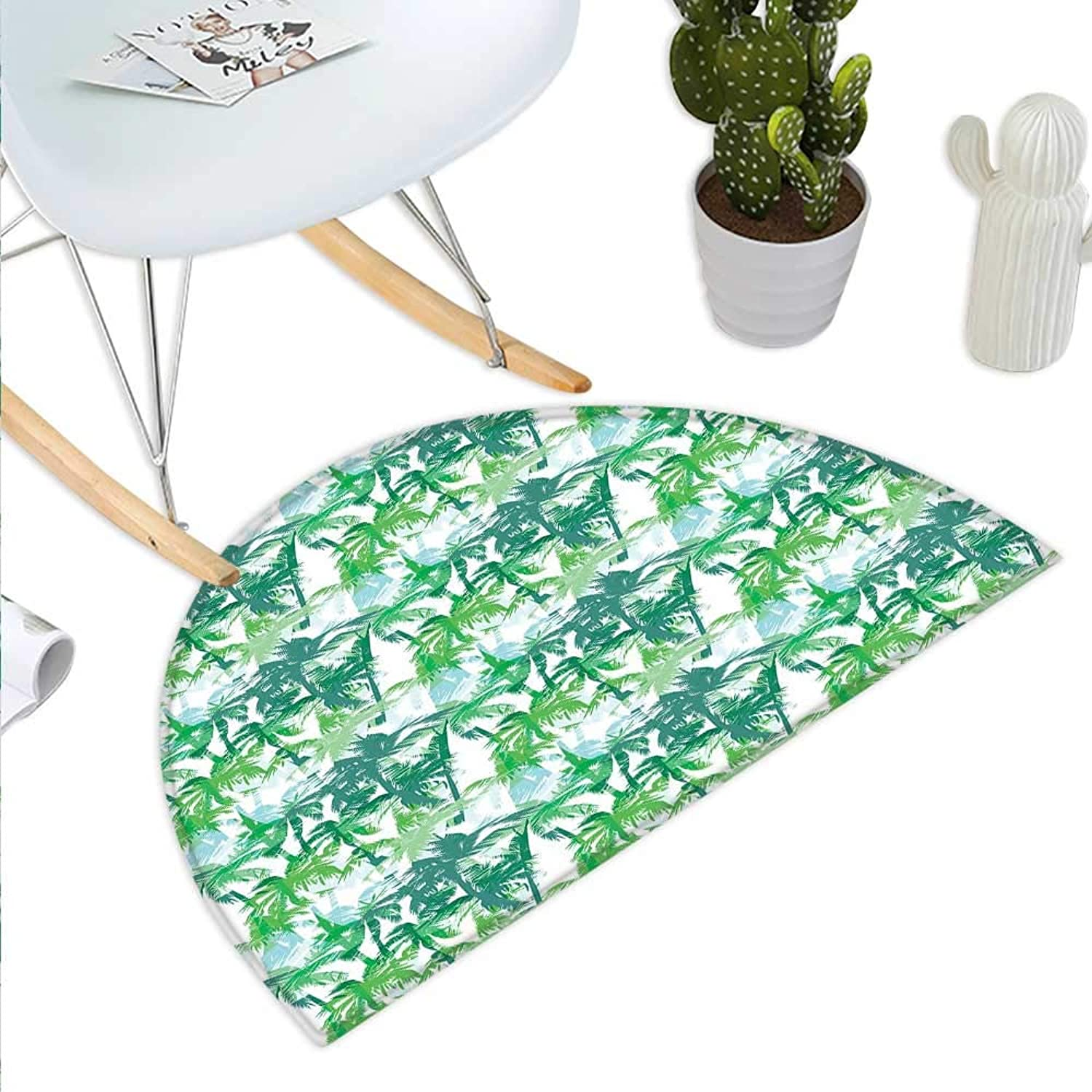 Palm Leaf Semicircle Doormat Exotic Fantasy Abstract Coconut Tree Silhouettes Green Jungle Halfmoon doormats H 43.3  xD 64.9  Forest Green Lime Green White