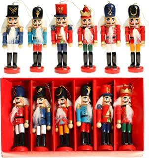Vlovelife Xmas Gift Birthday Gift, 6pcs Wooden Nutcracker Soldier Figurines Ornaments Puppets Figures Dolls Toy, Christmas Tree Ornaments Home Party Decor