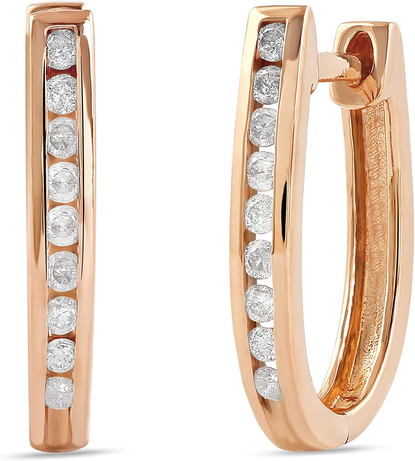 Sterling Silver Spasm price 1 4 CT.TDW. Rhodium New product! New type Diamond Hoop with Earrings