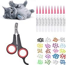 Queta - Protector de cal para gatos y cortaúñas, 200 fundas para uñas de gato en 20 colores (20 cápsulas/paquete) con adhesivo. Con cortaúñas del gato negro.