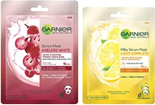 Garnier Skin Naturals, Ageless White, Face Serum Sheet Mask (Red), 32g and Garnier Skin Naturals, Light Complete, Face Ser...