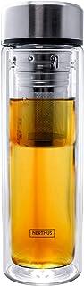Nerthus FIH 664 664-Botella Filtro 350 ml, Aislante Gracias a su Doble Pared, Botella infusor, Termo, Taza de Viaje, Tetera, 0.35 litros, Cristal