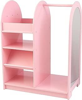 KidKraft 12510 Wooden Fashion Pretend Dress-Up Station Children's Furniture with Storage and Mirror - Pink
