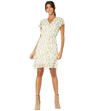 Sam Edelman Floral Shirred Skirt Dress (Ivory/Pink) Women