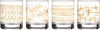 Fifth Avenue Crystal 229469-4OF Festive Set of 4 Lead-free Old Fashion Glasses, 3X3.7, Gold