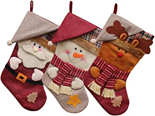 3 Pack Christmas Stockings Cute Santa's Toys Stockings Plush 3D Christmas Stockings