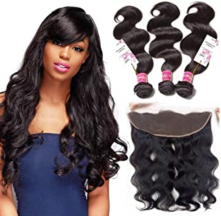 Unice Hair Brazilian Body Wave 13x4 Ear to Ear Full Lace Frontal Closure With Bundles, Unprocessed Virgin Human hair Natural Color (10 12 14+10 Frontal, Free Part)