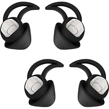 Replacement Silicone Earbuds Ear Buds Tips Eargel Isolation Double Flange for Bose QuietControl 30 QC20 QC20i QC30 Soundsport Free SIE2 IE2 IE3 Wireless Headphones Earphones - 2 Pair (Small, Black)