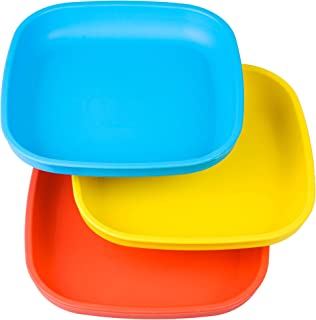 Re-Play Made in USA 3pk Toddler Feeding Plates with Deep Sides for Easy Baby, Toddler,..