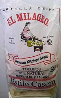 El Milagro Mexican Kitchen Style No Salt Tortilla Chips 16 oz (Pack of 3)