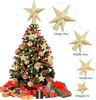 RUBFAC 3 Pack 4in/6in/8in Glittered Christmas Tree Topper Star Treetop for Christmas Tree Decoration or Home Decor, Hard Plastic, with 6 Christmas Tree Star Pendant