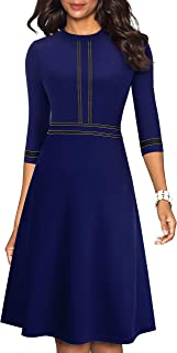 Women's Chic Crew Neck 3/4 Sleeve Party Homecoming Aline Dress A135