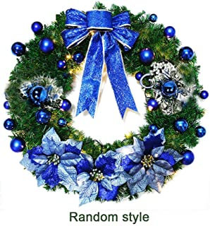 Handfly Christmas Wreaths 30cm Indoor Outdoor Artificial Xmas Baubles Garland for Tree Door Hanging,Wreaths with Baubles,Bowtie,Flower,Pine Cone Decor