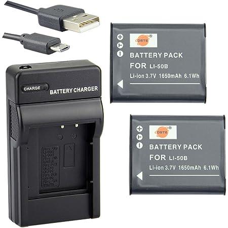 DSTE® アクセサリーキット Olympus LI-50B Pentax D-LI92 互換 カメラ バッテリー 2個+USB充電器キット対応機種 Olympus Stylus 1010 1020 1030 9000 9010 SP-720UZ iHS 800UZ 810UZ SZ-15 16 iHS 20 30MR Stylus Tough TG-870 I-10 RZ10 RZ18 WG-1 WG-2 WG-3 WG-4 WG-10 X70