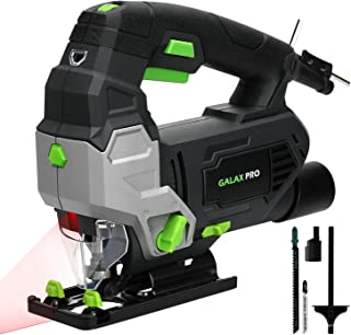 Jigsaw, GALAX PRO 6.7 Amp 3000 SPM Jig Saw Tool with Laser Guide, Max ±45° Bevel Cutting Angle, 6 Adjustable Speeds, 4-Position Orbital Action, Max Cutting Capacity: 4