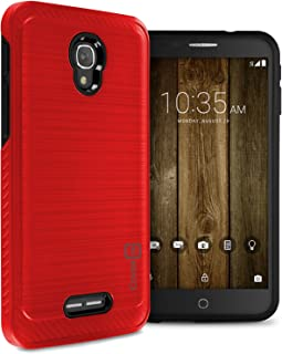 Alcatel Fierce 4 Hard Case, Alcatel One Touch Allura Case, Alcatel Pop 4 Plus Case, CoverON [Chrome Series] Hard Faux Brushed Metal Protective Hybrid Phone Cover Case - Red