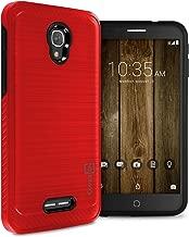 Alcatel Fierce 4 Hard Case, Alcatel One Touch Allura Case, Alcatel Pop 4 Plus Case, CoverON [Chrome Series] Hard Faux Brushed Metal Protective Hybrid Phone Cover Case - Red