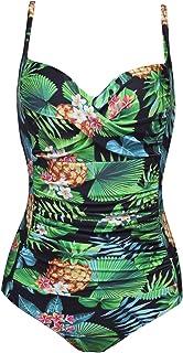 Ekouaer Womens One Piece Swimsuits Elegant Inspired Vintage Pin up Monokinis Tummy Control Swimwear Shirred Bathing Suits