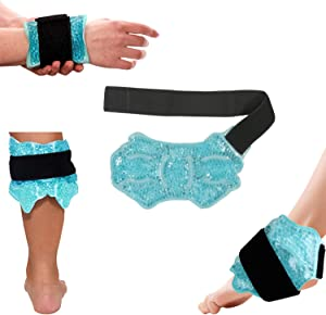 Ankle/Sport Foot Ice Therapy Wrap,Hot Cold Ice Gel Pack with Adjustable Brace for Sprained Ankles, Plantar Fasciitis, Achilles,tendonitis, and Swelling Feet,Microwaveable, Freezable and Reusable