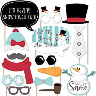 Big Dot of Happiness Let It Snow - Snowman Christmas - Holiday Photo Booth Props Kit - 20 Count
