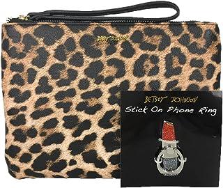 Betsey Johnson Phone a Friend Leopard Wristlet & Lipstick Stick On Phone Ring Set, Multi