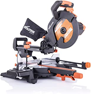 Evolution Power Tools R255SMS+ Compound Saw with Multi-Material Cutting, 45° Bevel, 50° Mitre, 300 mm Slide, 1600 W, 255 mm, 110 V, (3-Year Warranty)
