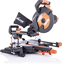 Evolution Power Tools R255SMS+ Compound Saw with Multi-Material Cutting, 45° Bevel, 50° Mitre, 300 mm Slide, 2000 W, 255 m...