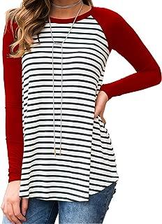 Halife Women's Raglan Long Sleeve Striped Tunic Tshirt Flowy Casual Tops Blouses