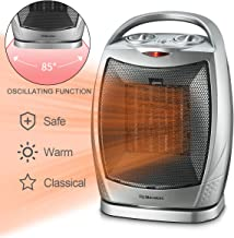 Warmtec 1500W Oscillating Ceramic Space Heater with Adjustable Thermostat,Portable Electric Heater Fan with Overheat Protection and Carry Handle (Silver)