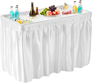Kealive Ice Table 4 Foot Cooler Table with Matching Skirt, Easy Clean Drain Plug Portable Folding Table Ice Bin Salad Food Drink Holder for BBQ Picnic Party and Camping, White