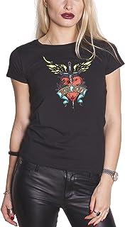 Bon Jovi T Shirt Heart & Dagger Band Logo 新しい 公式 レディーズ Skinny Fit