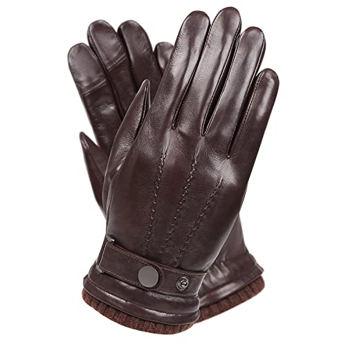 3d8f5ccf41afd Men s Texting Touchscreen Winter Warm Nappa Leather Daily Dress Driving  Gloves Wool Cashmere Blend Cuff
