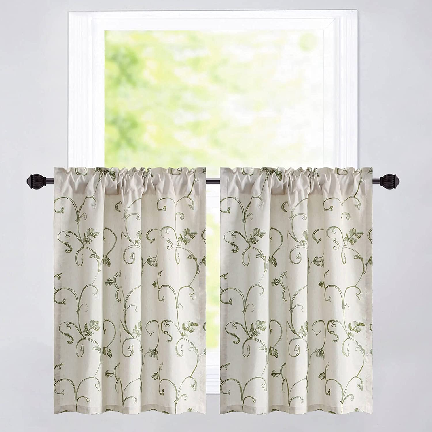 VOGOL Kitchen Tier Curtains 67% Trust OFF of fixed price Green Vines Embroidered Faux Linen