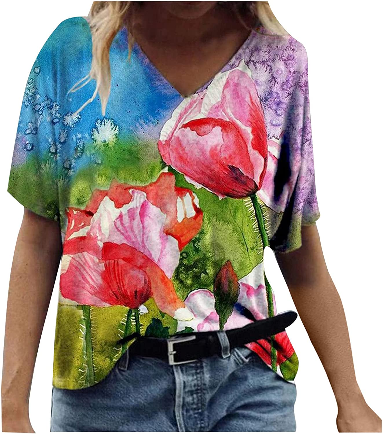 Womens Tunic Tops Short Mail order cheap Sleeve Flowy Ca Tee Shirts Limited price sale Casual Summer