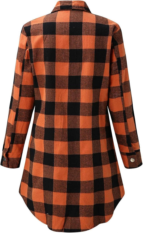 Hemlock Women Plaid Shirts Jacket Long Sleeve Button Down Blouses Tops Mid Long Shirt Coat Outwears