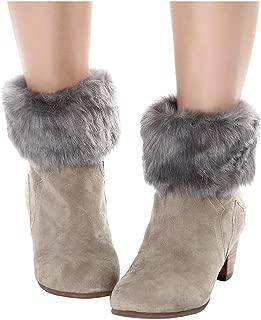 ELLITE Women's Winter Faux Fur Boot Cuff Crochet Knitting Leg Warmers Short