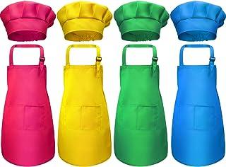 8 Piezas Delantal para Niños y Conjunto de Gorro de Cocinero Delantales Ajustables de Algodón para Niños con 2 Bolsillos Delantal de Cocina para Cocinar Cocinar Ropa (Color 2, Medio)