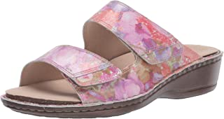 Aravon Women's Cambridge 2 Strap Sandal, Pink Floral, 060 2E US