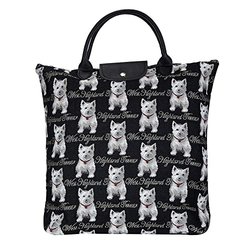 2bdac06dd99c Signare Tapestry Women Foldable Reusable Shopping Grocery Bag White Westie  Dog (FDAW-WES)