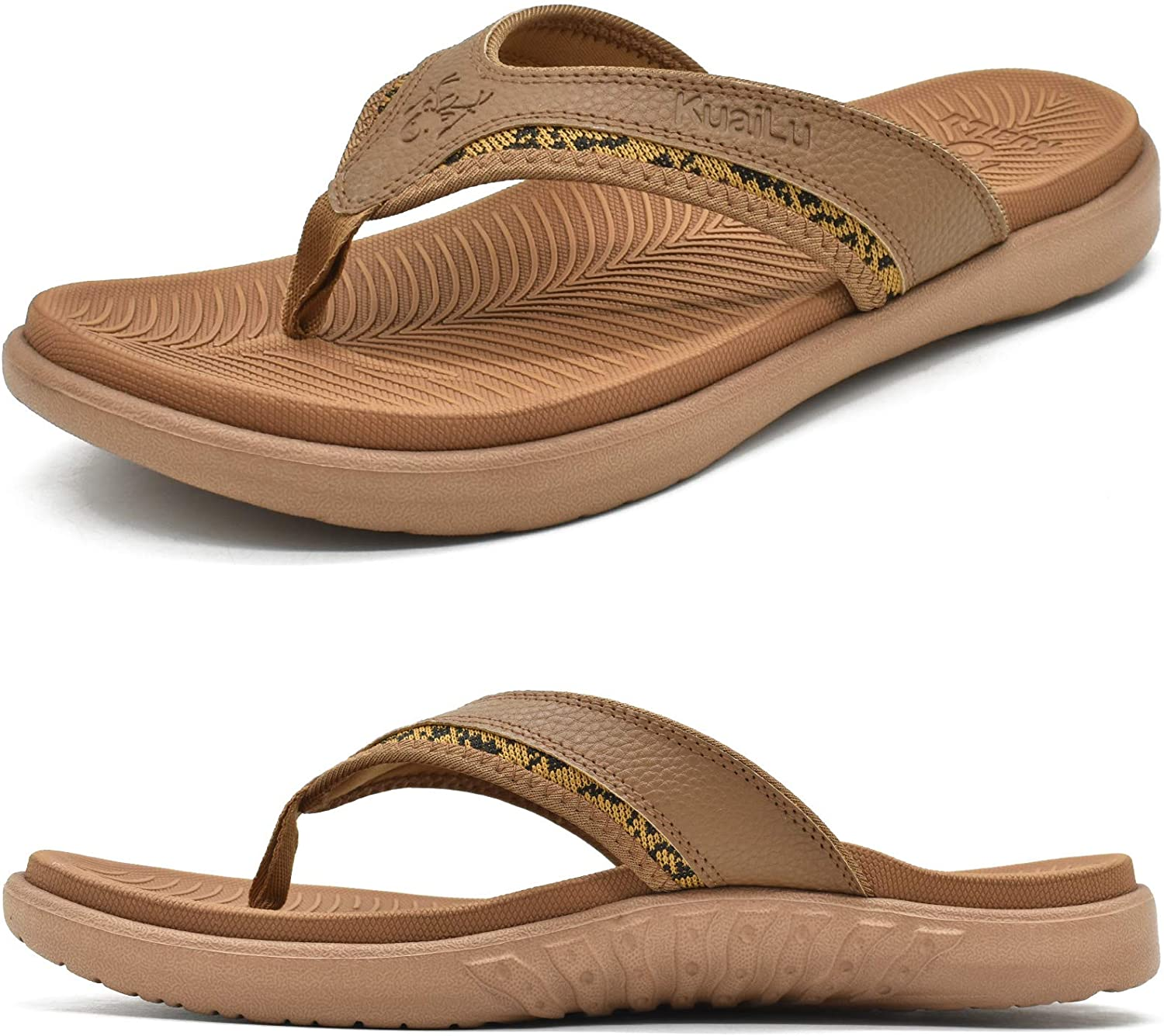 KuaiLu Mens Leather Sport Flip Flops Comfort Orthotic Thong Sandals with Plantar Fasciitis Arch Support for Outdoor Summer Size 7~13