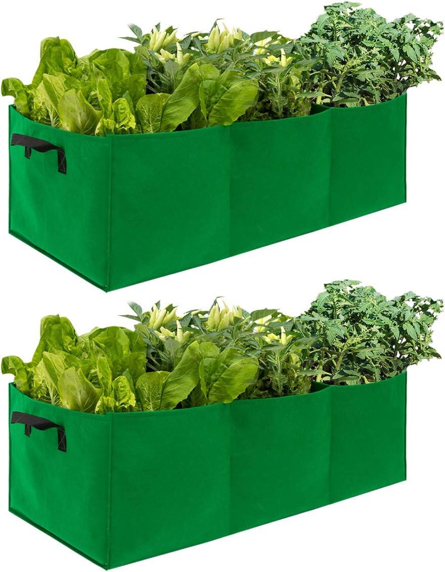 ANPHSIN 2 Pcs Large Fabric Raised High quality Garden Beds Grow Regular dealer Bags Planting