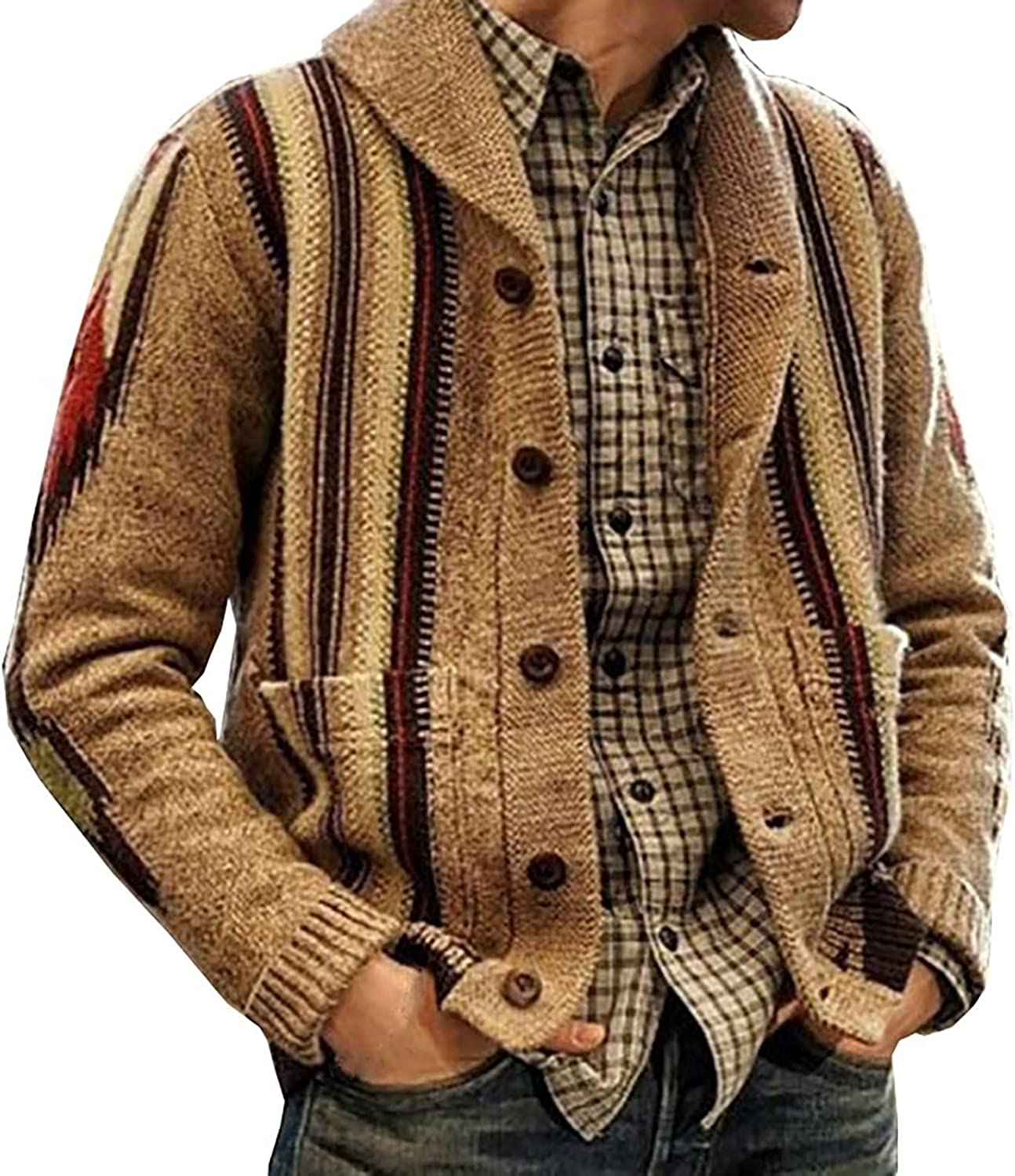 Knitwear Sweater for Men's Coat Fashion Retro Lapel Button Loose Plus Size Cable Knited Cardigan Henley Sweater