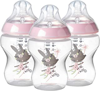 Tommee Tippee Closer to Nature Baby Bottle Decorated Pink, Anti-Colic Valve, Breast-Like Nipple for Natural Latch, Slow Flow, BPA-Free - 0+ Months, 9 Ounce, 3 Count (Design May Vary)