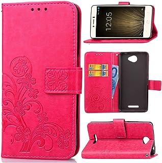 Guran® Funda de Cuero PU para BQ Aquaris U Lite Smartphone Función de Soporte con Ranura para Tarjetas Flip Case Trébol de la Suerte en Relieve Patrón Cover - Rosa roja